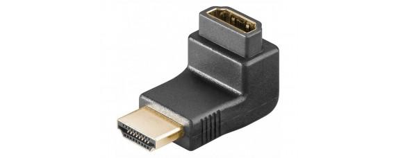 HDMI ъглов адаптор: HDMI женски - HDMI мъжки, на 90 градуса, позлатен